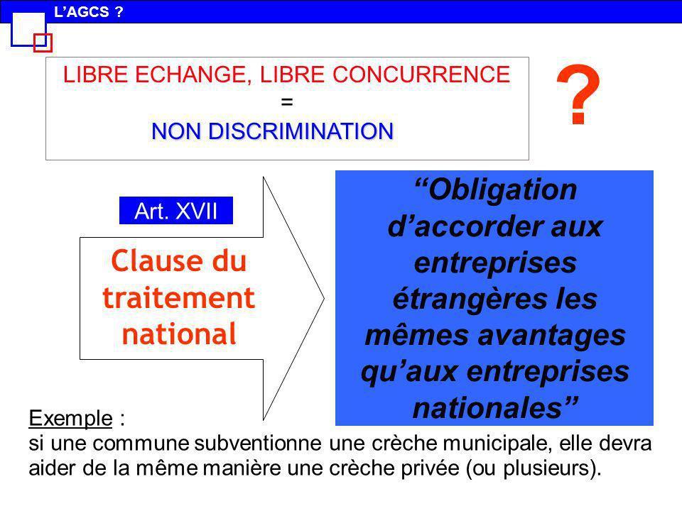 Obligation daccorder aux entreprises étrangères les mêmes avantages quaux entreprises nationales Exemple : si une commune subventionne une crèche muni