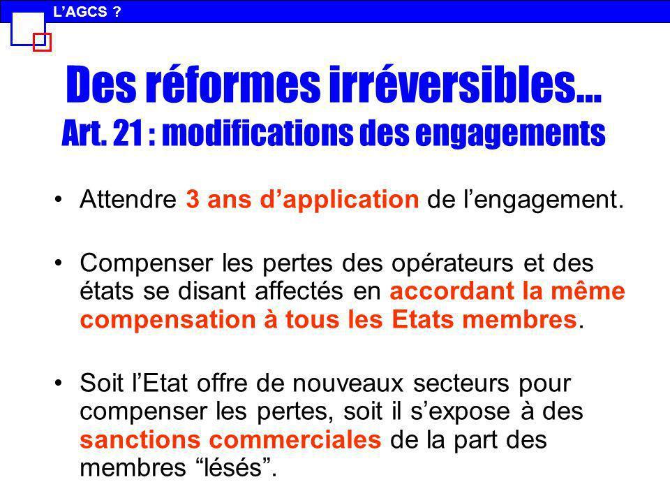Des réformes irréversibles… Art. 21 : modifications des engagements Attendre 3 ans dapplication de lengagement. Compenser les pertes des opérateurs et