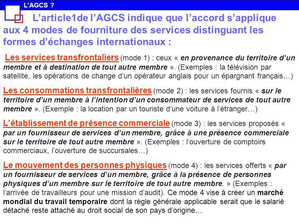 Larticle1de lAGCS indique que laccord sapplique aux 4 modes de fourniture des services distinguant les formes déchanges internationaux : Les services