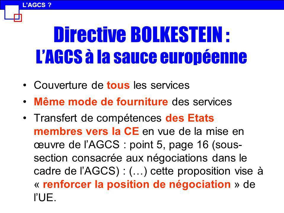 Directive BOLKESTEIN : LAGCS à la sauce européenne Couverture de tous les services Même mode de fourniture des services Transfert de compétences des E