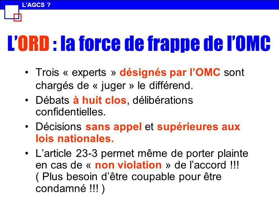 LORD : la force de frappe de lOMC Trois « experts » désignés par lOMC sont chargés de « juger » le différend. Débats à huit clos, délibérations confid