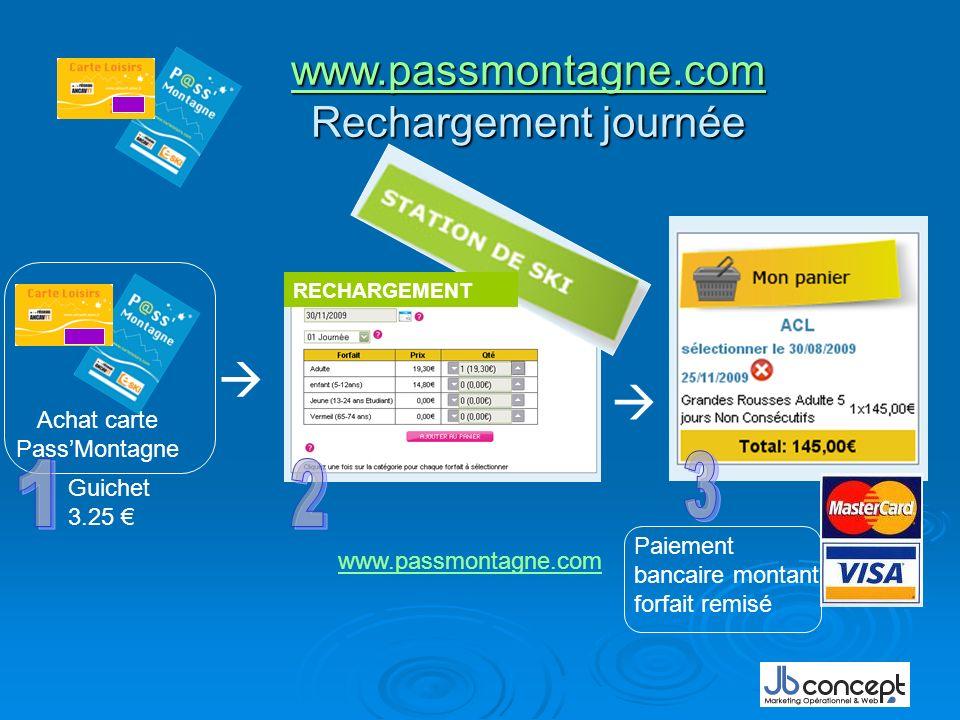 www.passmontagne.com www.passmontagne.com Rechargement journée www.passmontagne.com Achat carte PassMontagne Guichet 3.25 Paiement bancaire montant forfait remisé RECHARGEMENT www.passmontagne.com