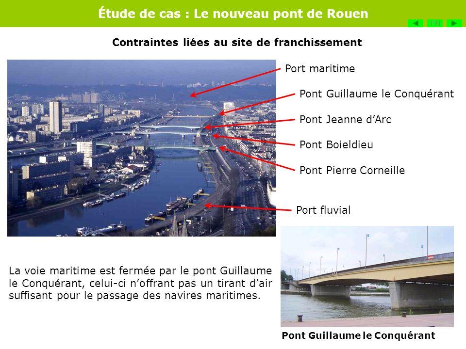 Étude de cas : Le nouveau pont de Rouen Port maritime Port fluvial Pont Guillaume le Conquérant Pont Jeanne dArc Pont Boieldieu La voie maritime est f