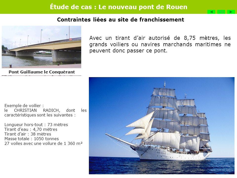 Étude de cas : Le nouveau pont de Rouen Avec un tirant dair autorisé de 8,75 mètres, les grands voiliers ou navires marchands maritimes ne peuvent don