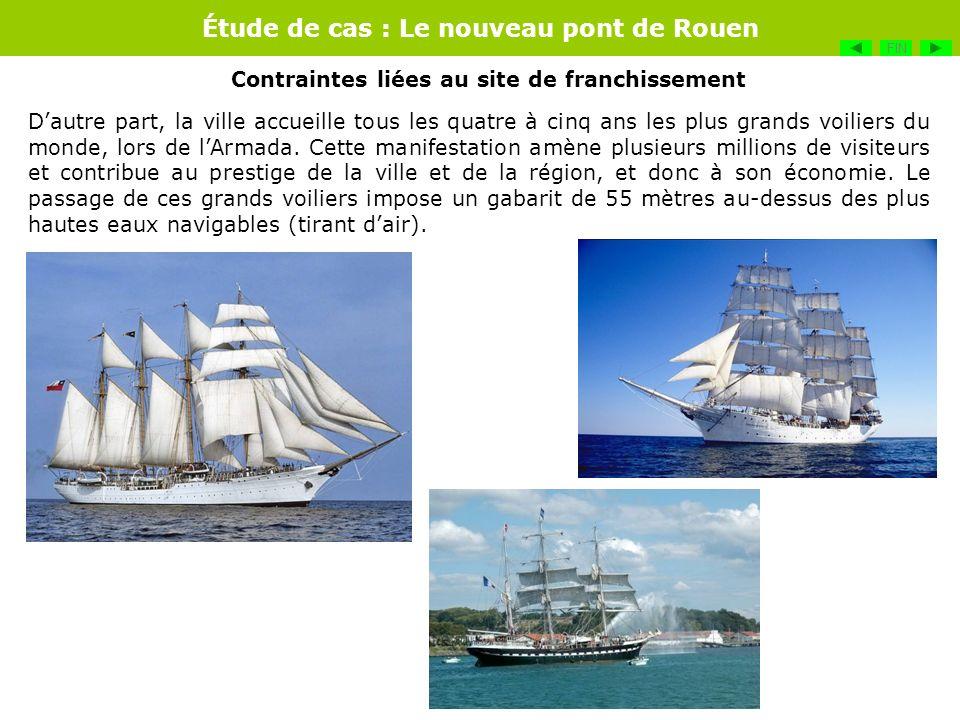 Étude de cas : Le nouveau pont de Rouen Dautre part, la ville accueille tous les quatre à cinq ans les plus grands voiliers du monde, lors de lArmada.