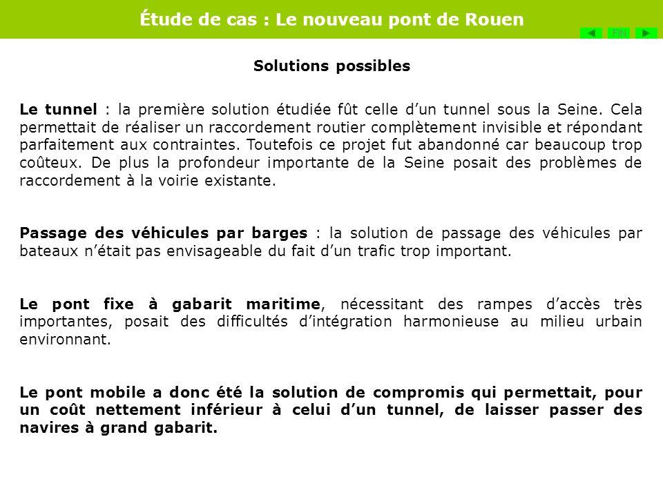 Étude de cas : Le nouveau pont de Rouen Le tunnel : la première solution étudiée fût celle dun tunnel sous la Seine. Cela permettait de réaliser un ra
