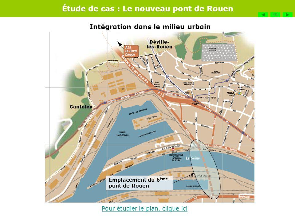 Étude de cas : Le nouveau pont de Rouen Pour étudier le plan, clique ici Emplacement du 6 ème pont de Rouen Intégration dans le milieu urbain FIN