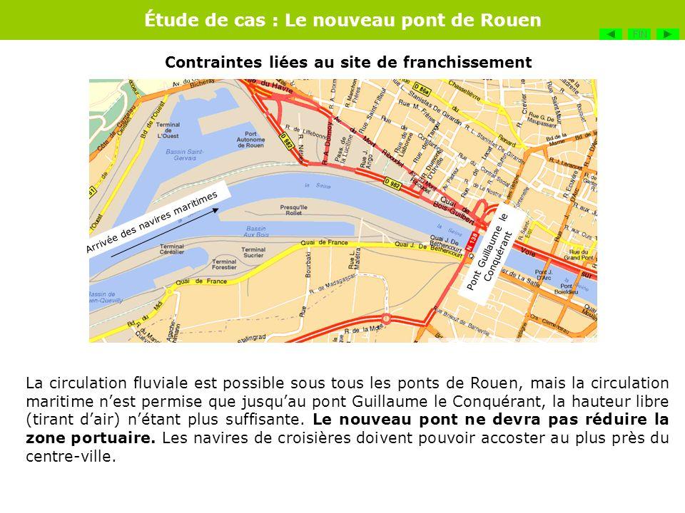 Étude de cas : Le nouveau pont de Rouen La circulation fluviale est possible sous tous les ponts de Rouen, mais la circulation maritime nest permise q