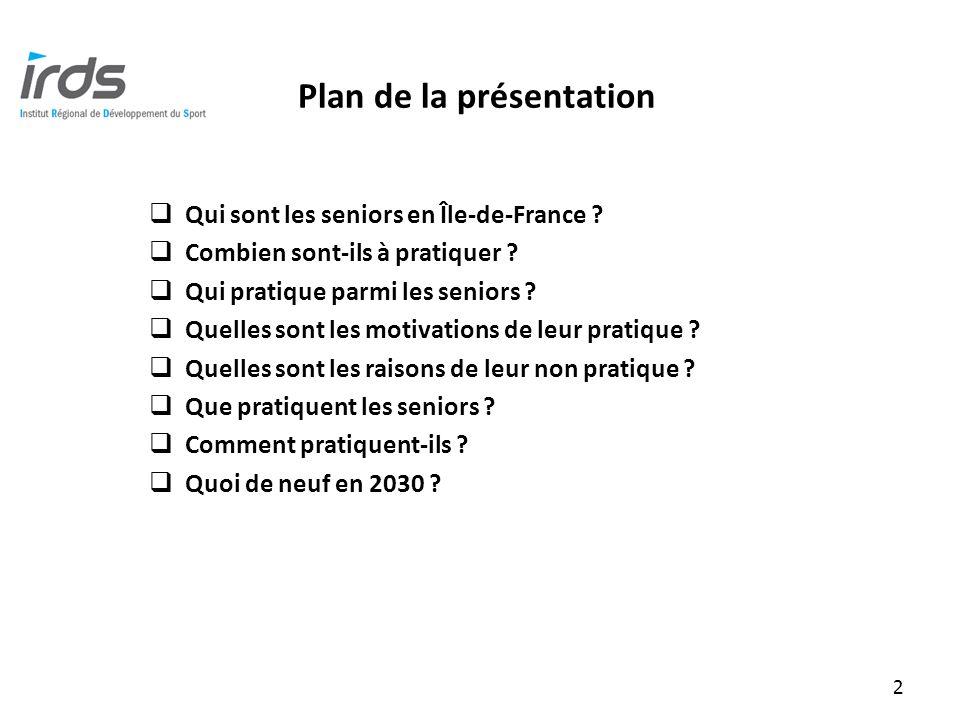 Plan de la présentation Qui sont les seniors en Île-de-France .