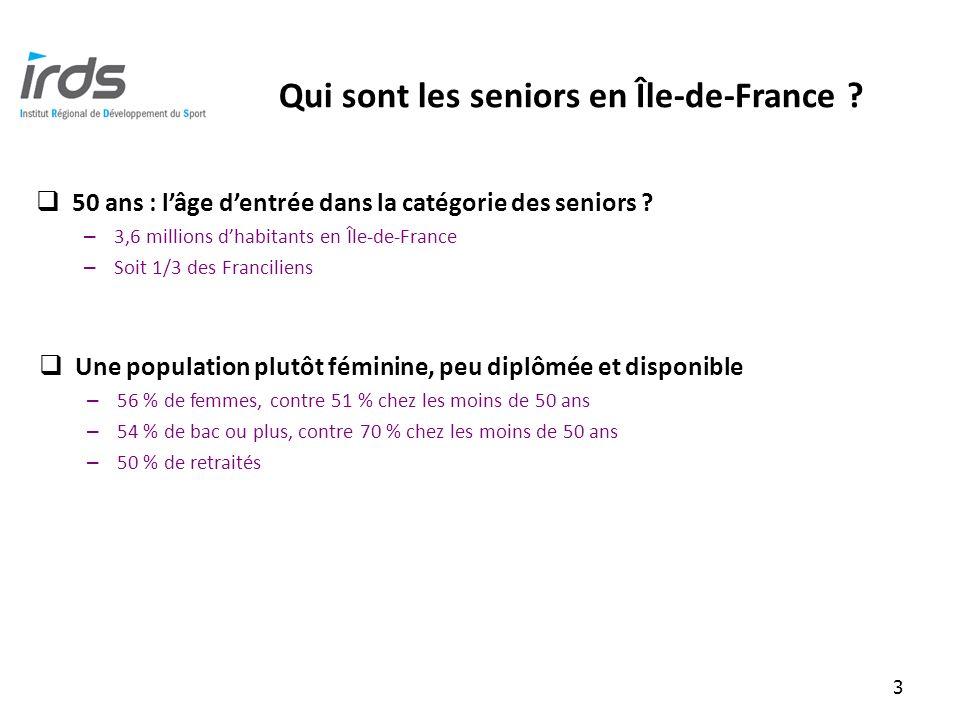 Qui sont les seniors en Île-de-France . 3 50 ans : lâge dentrée dans la catégorie des seniors .