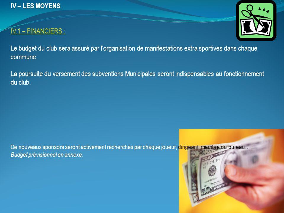 IV – LES MOYENS IV.1 – FINANCIERS : Le budget du club sera assuré par lorganisation de manifestations extra sportives dans chaque commune.
