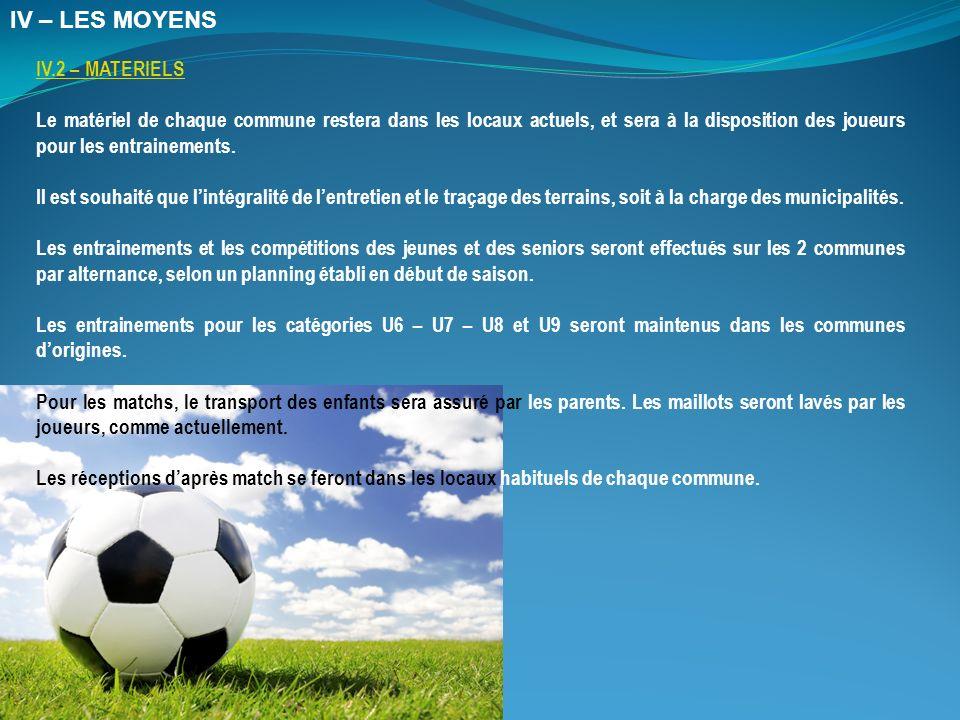 IV.2 – MATERIELS Le matériel de chaque commune restera dans les locaux actuels, et sera à la disposition des joueurs pour les entrainements.