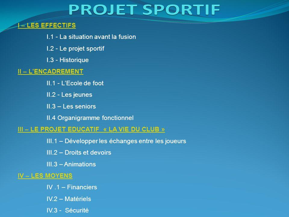 I – LES EFFECTIFS I.1 - La situation avant la fusion I.2 - Le projet sportif I.3 - Historique II – LENCADREMENT II.1 - LEcole de foot II.2 - Les jeunes II.3 – Les seniors II.4 Organigramme fonctionnel III – LE PROJET EDUCATIF « LA VIE DU CLUB » III.1 – Développer les échanges entre les joueurs III.2 – Droits et devoirs III.3 – Animations IV – LES MOYENS IV.1 – Financiers IV.2 – Matériels IV.3 - Sécurité