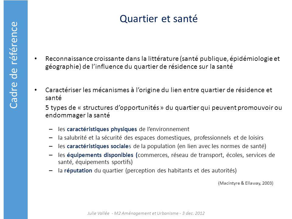 Quartier et santé Reconnaissance croissante dans la littérature (santé publique, épidémiologie et géographie) de linfluence du quartier de résidence s