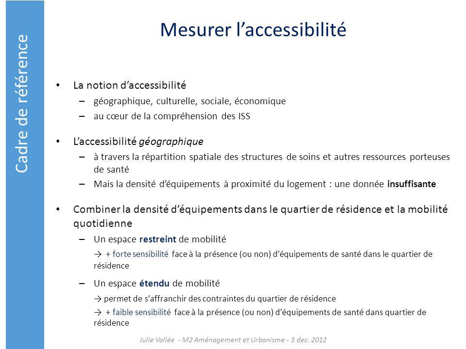 Mesurer laccessibilité La notion daccessibilité – géographique, culturelle, sociale, économique – au cœur de la compréhension des ISS Laccessibilité g
