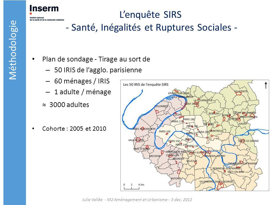 Lenquête SIRS - Santé, Inégalités et Ruptures Sociales - Plan de sondage - Tirage au sort de – 50 IRIS de lagglo. parisienne – 60 ménages / IRIS – 1 a