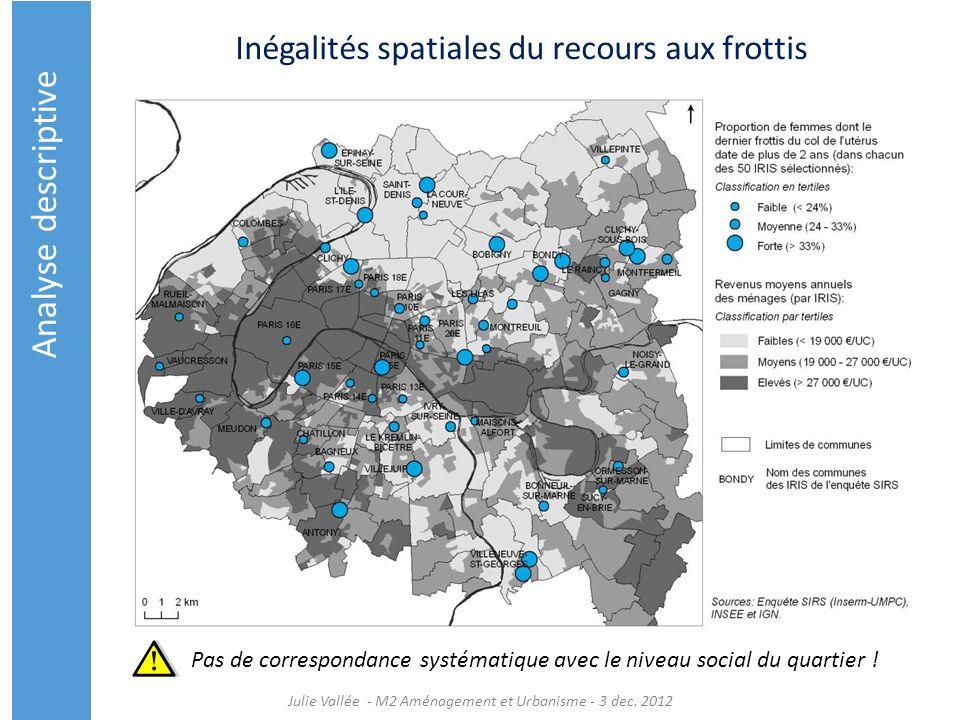 Inégalités spatiales du recours aux frottis Julie Vallée - M2 Aménagement et Urbanisme - 3 dec. 2012 Pas de correspondance systématique avec le niveau