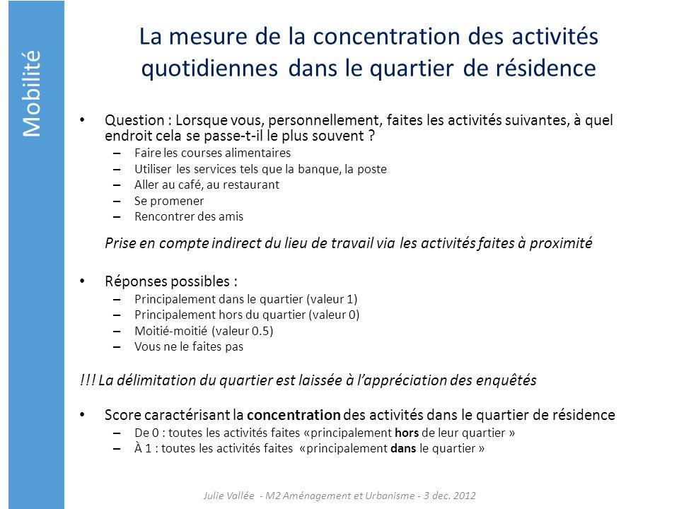 La mesure de la concentration des activités quotidiennes dans le quartier de résidence Question : Lorsque vous, personnellement, faites les activités