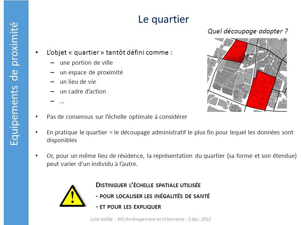 Le quartier Lobjet « quartier » tantôt défini comme : – une portion de ville – un espace de proximité – un lieu de vie – un cadre daction –…–… Pas de