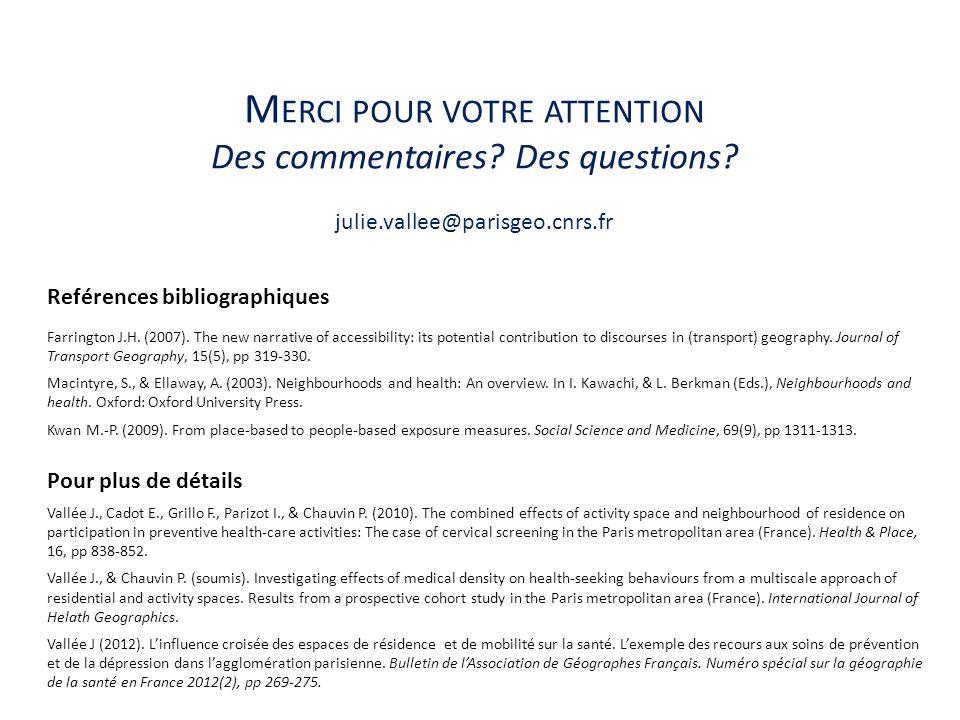 M ERCI POUR VOTRE ATTENTION Des commentaires? Des questions? julie.vallee@parisgeo.cnrs.fr Reférences bibliographiques Farrington J.H. (2007). The new