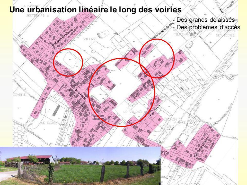 Une urbanisation linéaire le long des voiries - Des grands délaissés - Des problèmes daccès