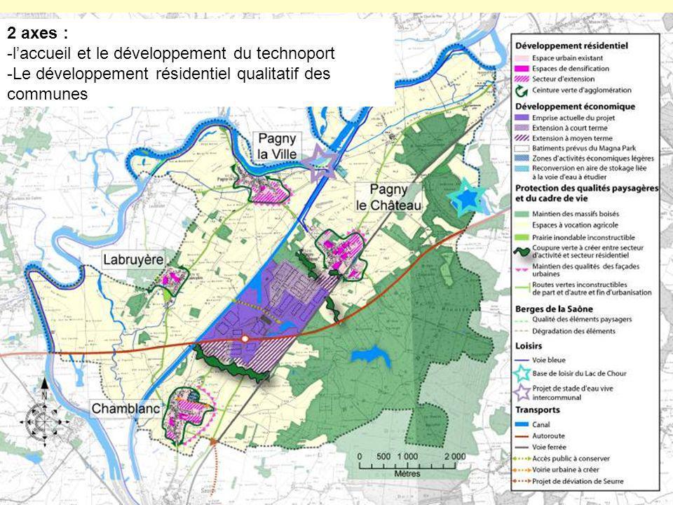 2 axes : -laccueil et le développement du technoport -Le développement résidentiel qualitatif des communes