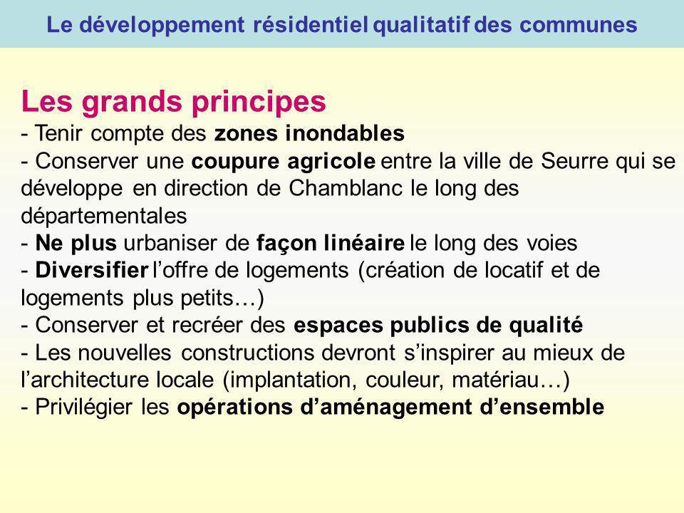 Le développement résidentiel qualitatif des communes Les grands principes - Tenir compte des zones inondables - Conserver une coupure agricole entre l