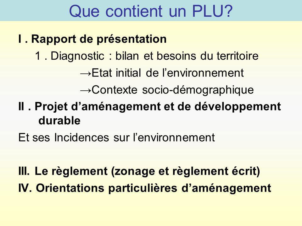 Que contient un PLU? I. Rapport de présentation 1. Diagnostic : bilan et besoins du territoire Etat initial de lenvironnement Contexte socio-démograph