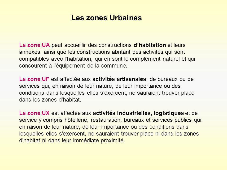 La zone UA peut accueillir des constructions dhabitation et leurs annexes, ainsi que les constructions abritant des activités qui sont compatibles ave