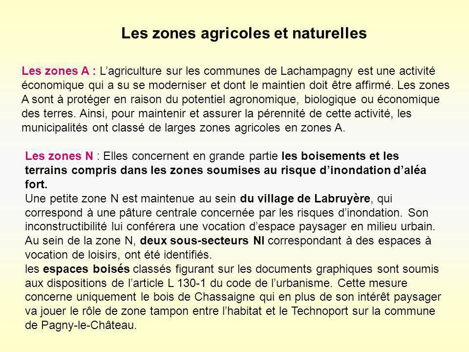 Les zones agricoles et naturelles Les zones A : Lagriculture sur les communes de Lachampagny est une activité économique qui a su se moderniser et don