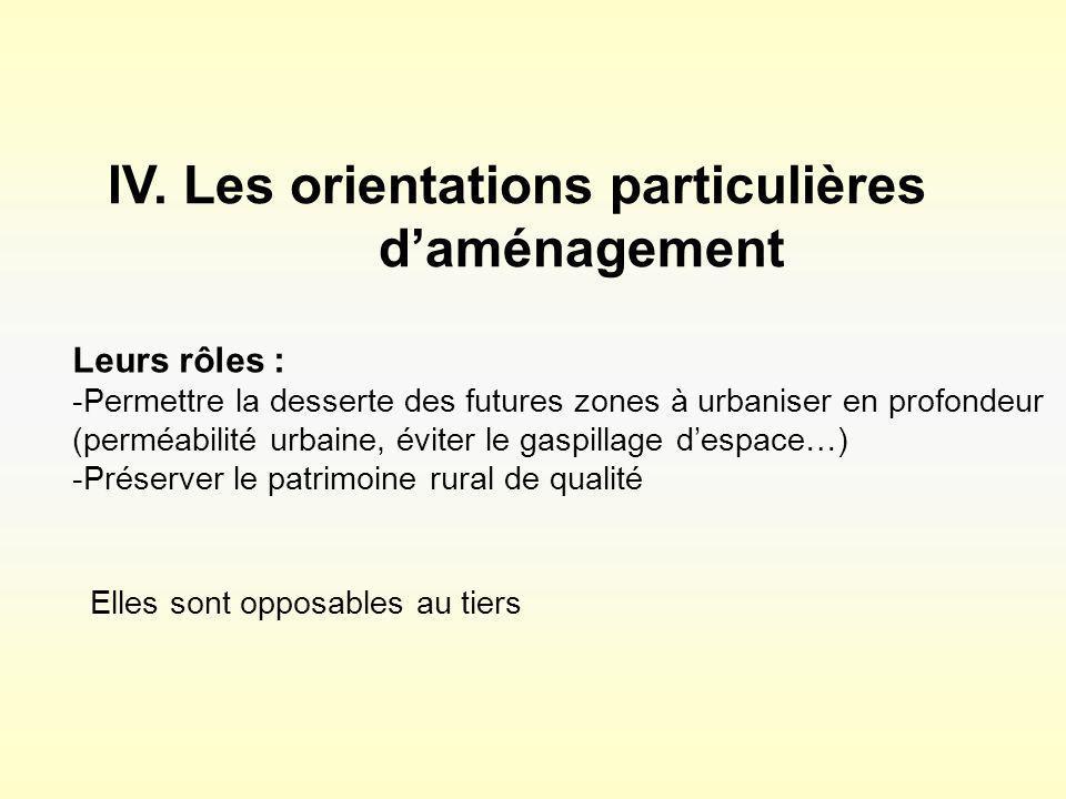 IV. Les orientations particulières daménagement Leurs rôles : -Permettre la desserte des futures zones à urbaniser en profondeur (perméabilité urbaine