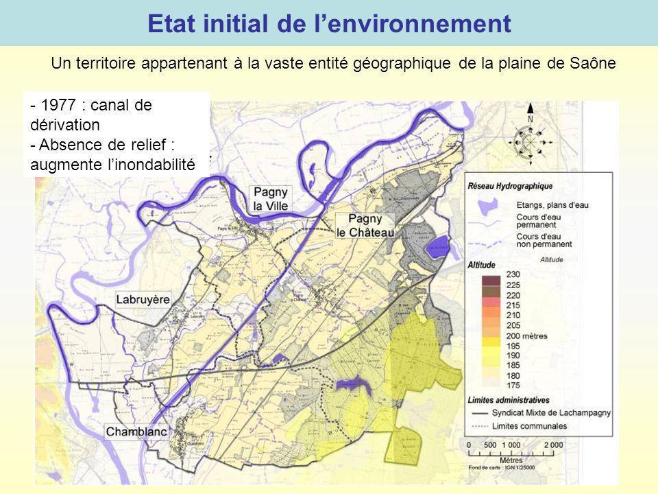 Etat initial de lenvironnement Un territoire appartenant à la vaste entité géographique de la plaine de Saône - 1977 : canal de dérivation - Absence d