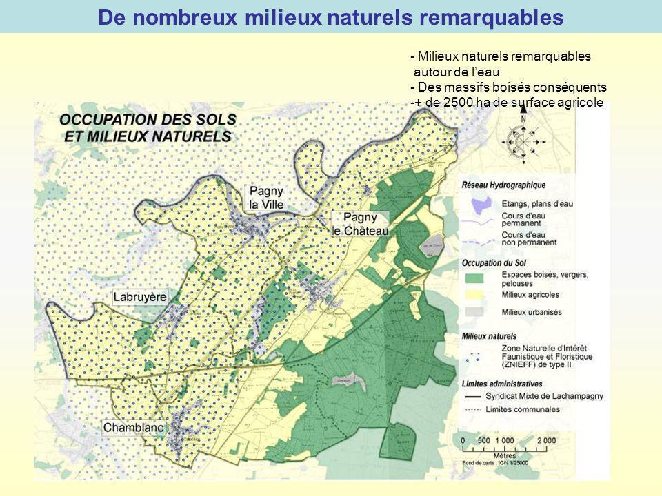 De nombreux milieux naturels remarquables - Milieux naturels remarquables autour de leau - Des massifs boisés conséquents -+ de 2500 ha de surface agr