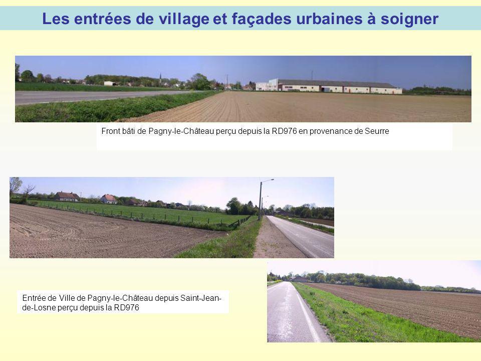 Les entrées de village et façades urbaines à soigner Front bâti de Pagny-le-Château perçu depuis la RD976 en provenance de Seurre Entrée de Ville de P