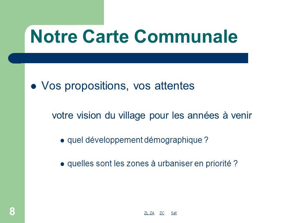 ZL ZAZL ZA ZC SatZCSat 8 Notre Carte Communale Vos propositions, vos attentes votre vision du village pour les années à venir quel développement démographique .
