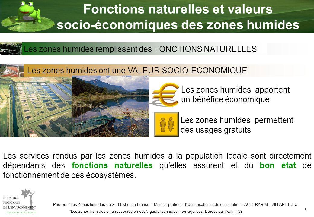 1 Fonctions naturelles et valeurs socio-économiques des zones humides Les zones humides ont une VALEUR SOCIO-ECONOMIQUE Les zones humides apportent un