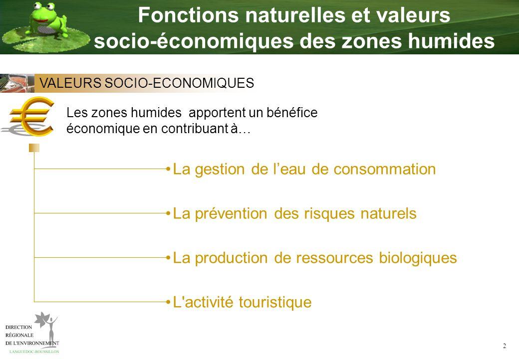 2 La gestion de leau de consommation La prévention des risques naturels La production de ressources biologiques L'activité touristique Les zones humid