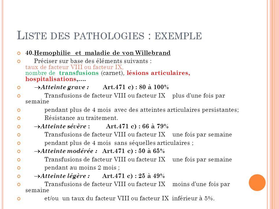 L ISTE DES PATHOLOGIES : EXEMPLE 40.Hemophilie et maladie de von Willebrand Préciser sur base des éléments suivants : taux de facteur VIII ou facteur