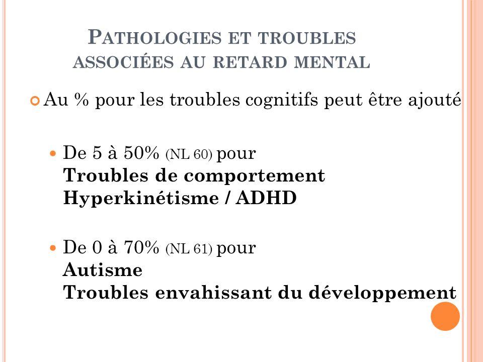 P ATHOLOGIES ET TROUBLES ASSOCIÉES AU RETARD MENTAL Au % pour les troubles cognitifs peut être ajouté De 5 à 50% (NL 60) pour Troubles de comportement