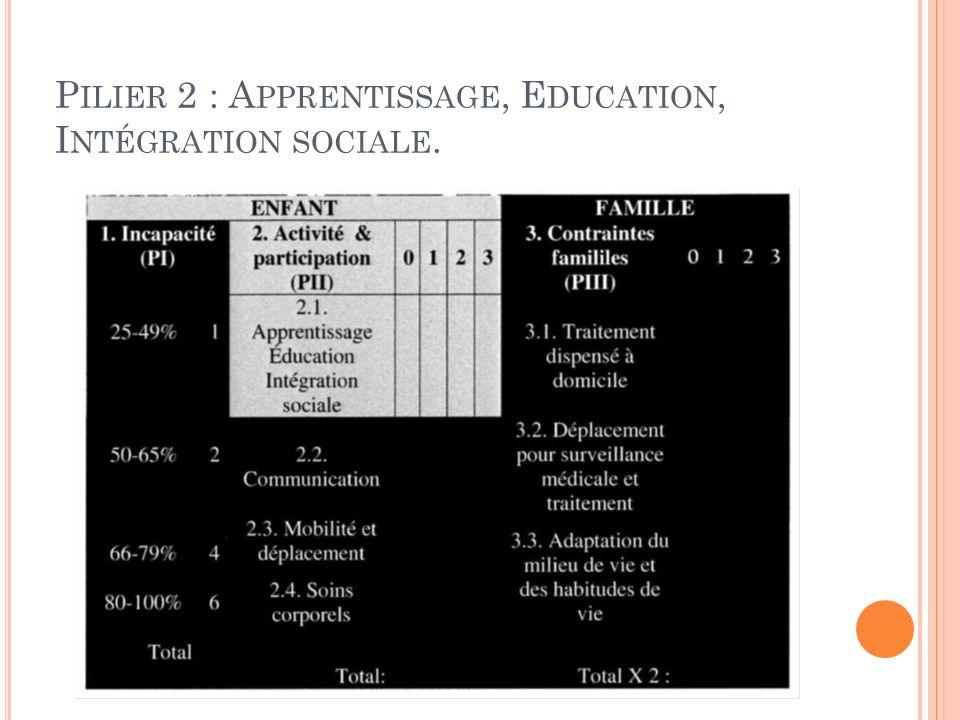 P ILIER 2 : A PPRENTISSAGE, E DUCATION, I NTÉGRATION SOCIALE.