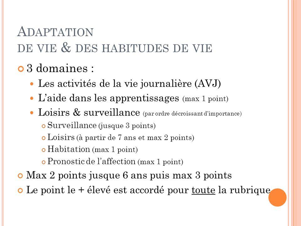 A DAPTATION DE VIE & DES HABITUDES DE VIE 3 domaines : Les activités de la vie journalière (AVJ) Laide dans les apprentissages (max 1 point) Loisirs &
