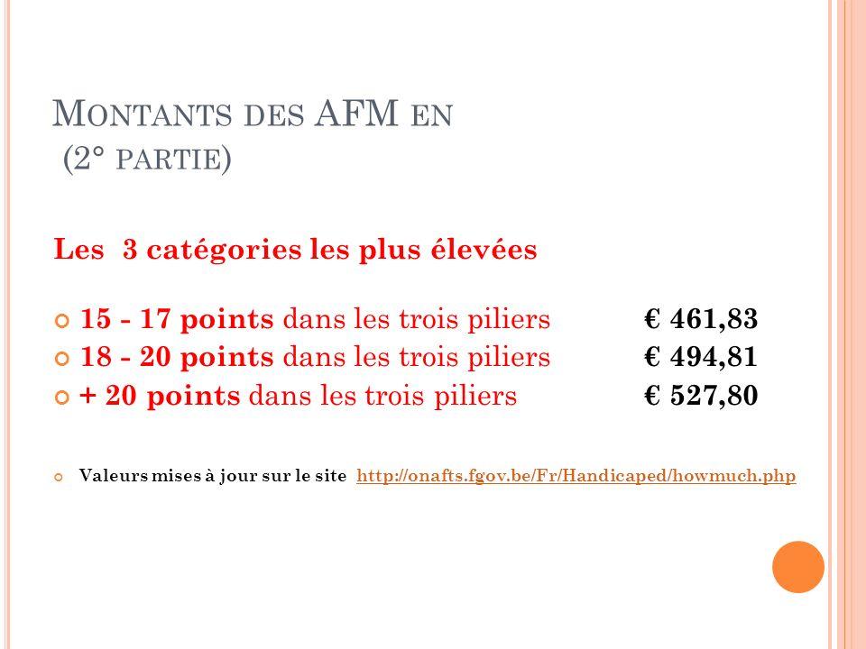 M ONTANTS DES AFM EN (2° PARTIE ) Les 3 catégories les plus élevées 15 - 17 points dans les trois piliers 461,83 18 - 20 points dans les trois piliers