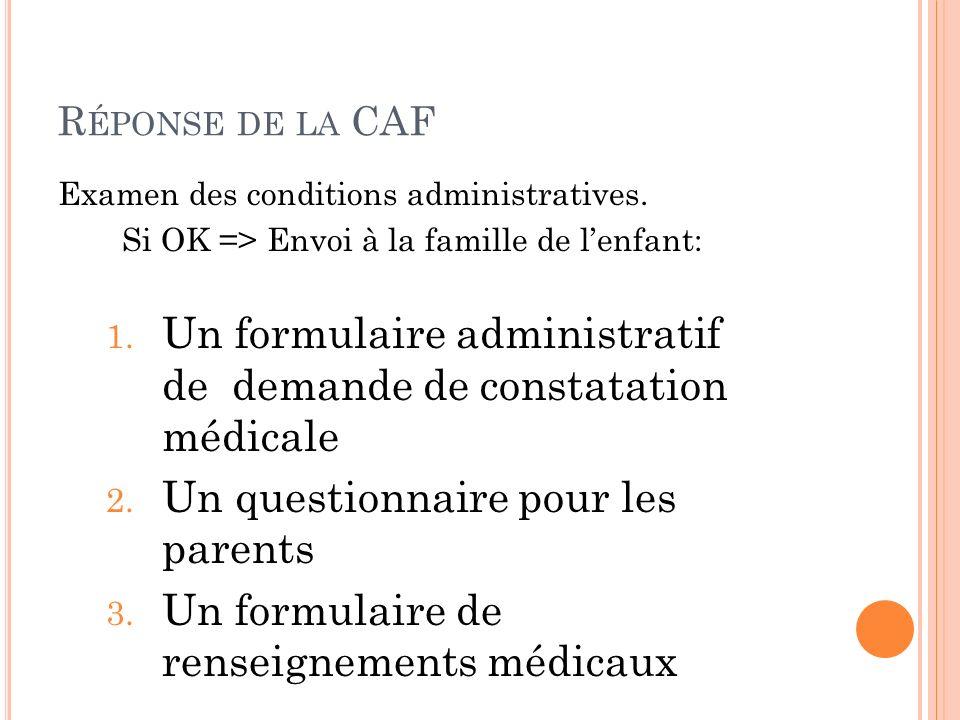 R ÉPONSE DE LA CAF Examen des conditions administratives. Si OK => Envoi à la famille de lenfant: 1. Un formulaire administratif de demande de constat