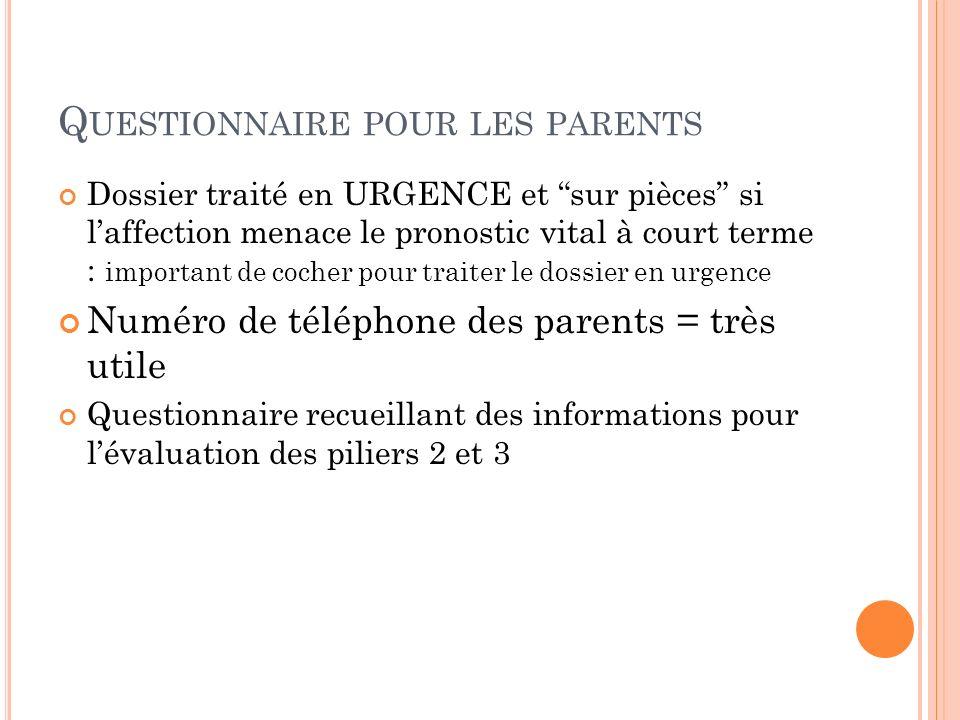 Q UESTIONNAIRE POUR LES PARENTS Dossier traité en URGENCE et sur pièces si laffection menace le pronostic vital à court terme : important de cocher po