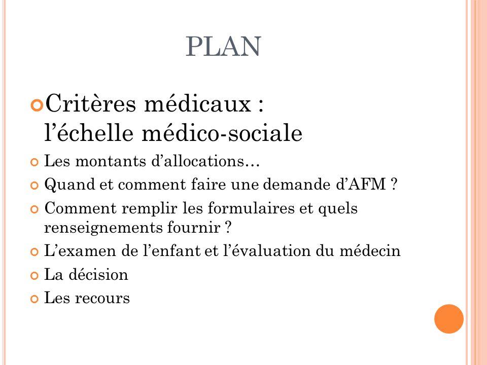 PLAN Critères médicaux : léchelle médico-sociale Les montants dallocations… Quand et comment faire une demande dAFM ? Comment remplir les formulaires