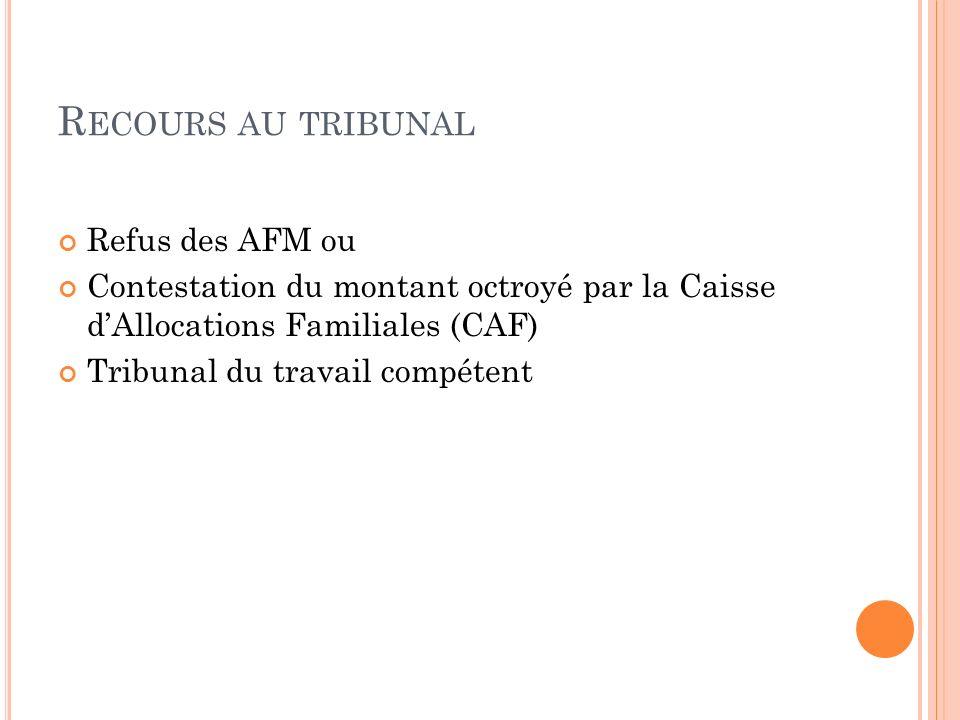 R ECOURS AU TRIBUNAL Refus des AFM ou Contestation du montant octroyé par la Caisse dAllocations Familiales (CAF) Tribunal du travail compétent