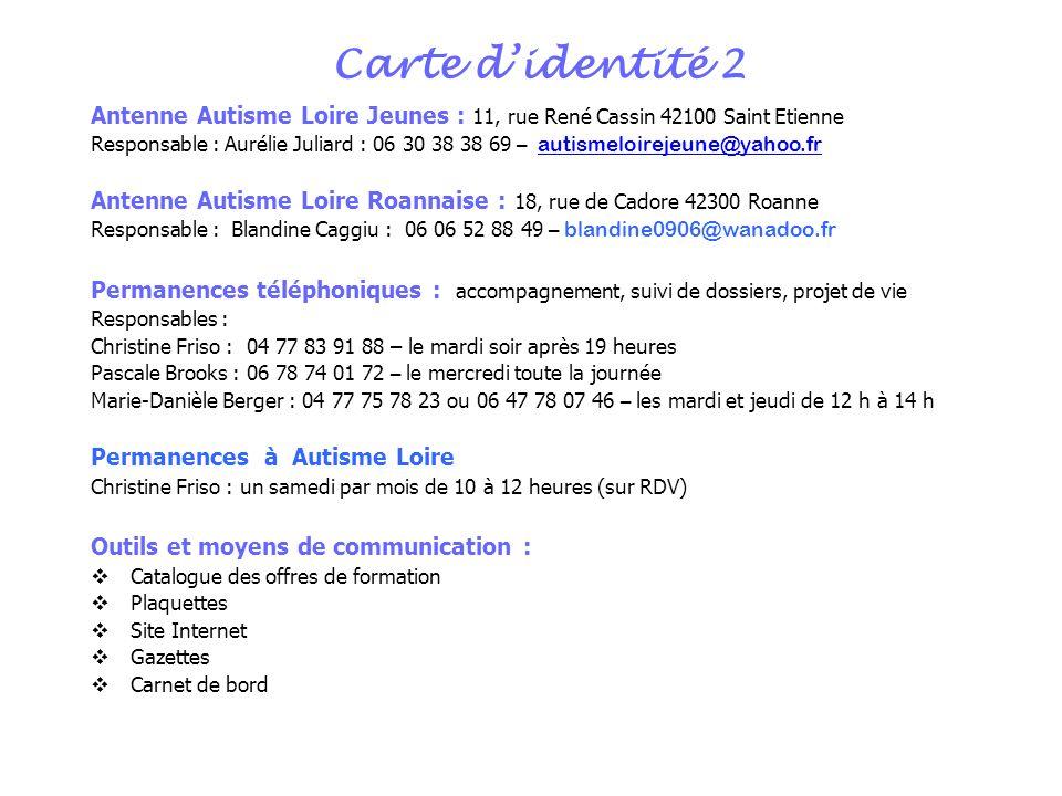 Carte didentité 2 Antenne Autisme Loire Jeunes : 11, rue René Cassin 42100 Saint Etienne Responsable : Aurélie Juliard : 06 30 38 38 69 – autismeloire