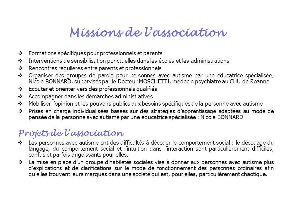 Missions de lassociation Formations spécifiques pour professionnels et parents Interventions de sensibilisation ponctuelles dans les écoles et les adm