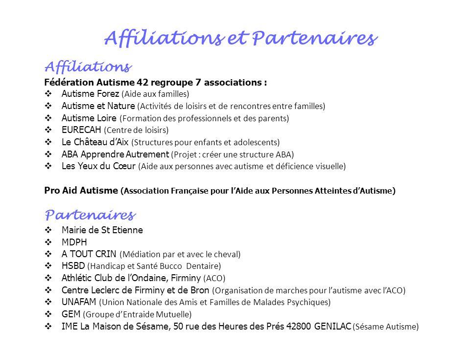Affiliations et Partenaires Affiliations Fédération Autisme 42 regroupe 7 associations : Autisme Forez (Aide aux familles) Autisme et Nature (Activité