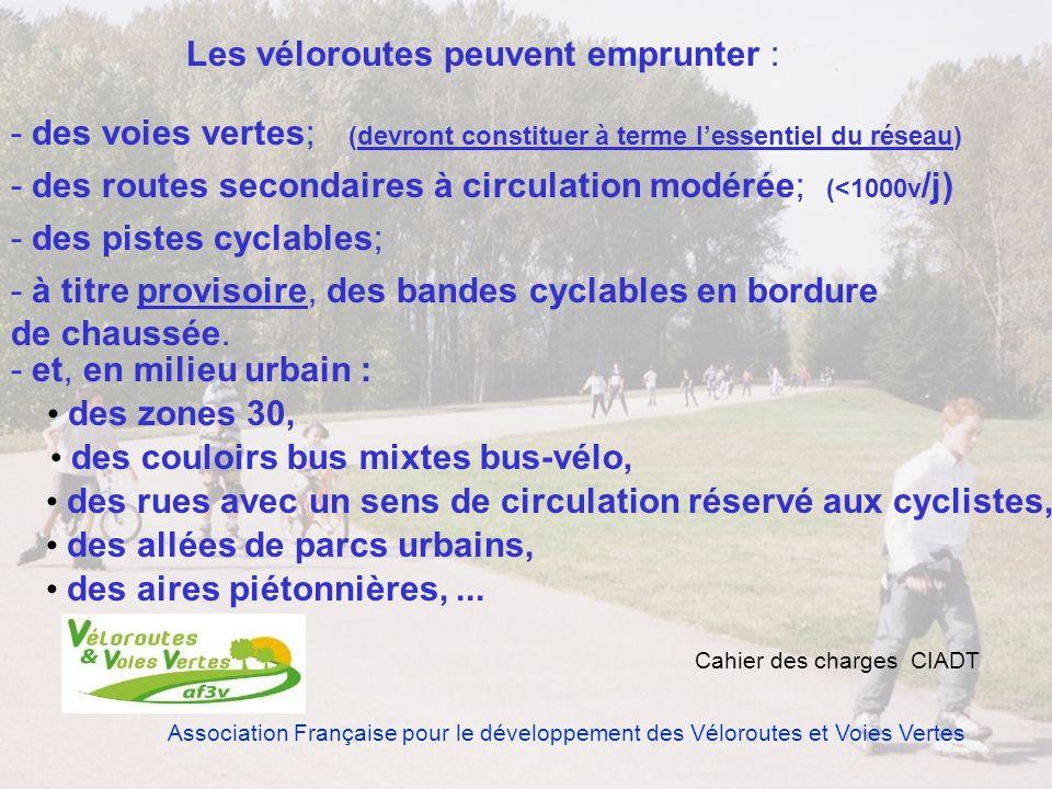 Association Française pour le développement des Véloroutes et Voies Vertes Les véloroutes peuvent emprunter : - des voies vertes; - des routes seconda